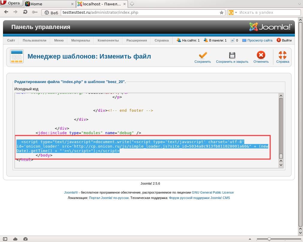 Размещение кода сервиса в сторонних CMS5